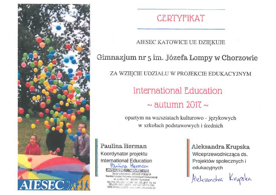 Certyfikat International Education